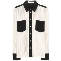 See by Chloé Cotton Macramé Lace Shirt ($340) ❤ liked on Polyvore featuring neutrals and see by chloé