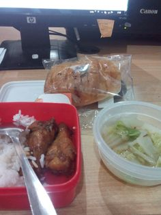 Abah bring food for mommy and baby inside