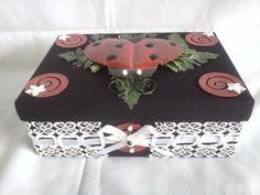 Handcrafted Fabric & Mental Lady Bug Keepsake/Trinket Box  #GirlsGifts #Christmas #Gifts #KeepsakeBoxes #LadyBugs #TrinketBoxes #Holidays #Boxes #ChristmasGifts