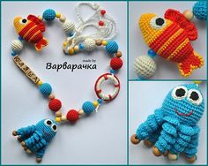with amigurumi octopus and fish Nursing necklace Breastfeeding necklace   - FREE SHIPPING