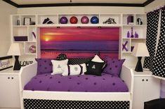 teen girl room sports room purple
