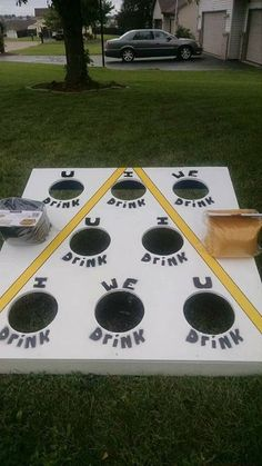 Yard games to play during happy hour Beer Tasting Bachelorette Party Drinking Games For Parties, Adult Party Games, Adult Games, Fun Games, Outdoor Drinking Games, Redneck Party Games, Camping Drinking Games, Party Games For Adults, Bbq Party Games