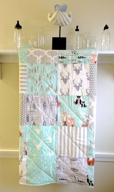 Baby Quilt Oh Hello Mint Modern Pastel Rustic by FernLeslieBaby