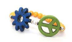 Orange Magnesite Beads, Green Magnesite Peace Sign and Blue Magnesite Flower Stretch Bangle Bracelet   AyaDesigns - Jewelry on ArtFire