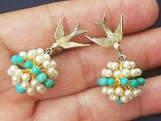 Estate 14k Solid Gold Swallow Bird Pearl Persian Turquoise Love Token Earrings