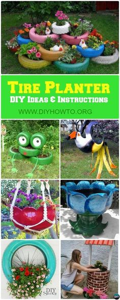 Turn old #tire into #gardening planters and pots with these bright tire recycle instructions via @diyhowto