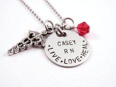 Personalized Nurse Necklace - Nurse Gift - Nursing Graduation - RN - LPN - LVN - Hand Stamped Stainless Steel - Nurse. $27.00, via Etsy.