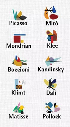 "bauhaus-movement: ""Pollock Dalí Matisse Klimt Picasso Mondrian Klee Boccioni Kandinsky Miro - Who is your favorite Artist? Henri Matisse, Arte Elemental, Ecole Art, Piet Mondrian, Abstract Painters, Art Classroom, Art Plastique, Teaching Art, Elementary Art"