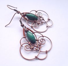 copper and green by ggagatka on DeviantArt Wire Jewelry Earrings, Head Jewelry, Wire Wrapped Earrings, Brass Jewelry, Pendant Jewelry, Wire Bracelets, Copper Earrings, Jewelery, Wrap Bracelet Tutorial