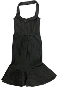 Black Halter Bustier Corset Fit & Flair Trumpet Hem 42 4 Mid-length Cocktail Dress Size 6 (S) Pocket Trumpet, Black Rhinestone, Stunning Dresses, Mid Length, Dsquared2, Hemline, Corset, Bodice, Luxury Fashion