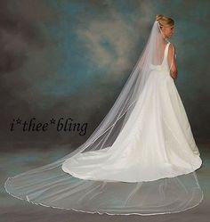 "Cathedral Length Veil 3/8"" Ribbon Edge  144""x108""  White Ivory Diamond White"