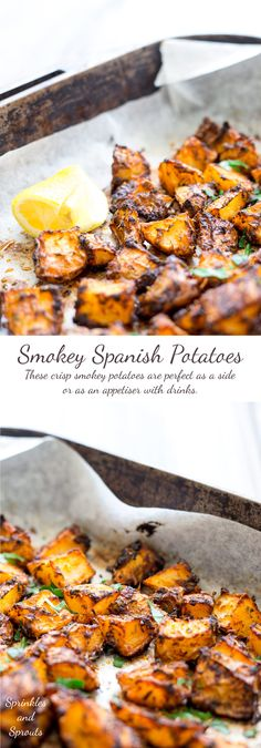 Crisp, smokey, with a touch of citrus, these Spanish potatoes are a great side dish or as an appetiser with drinks. As you spear your fork into the crisp shell you can just imagine sitting watching the sun set as you enjoy a cold beer in San Sebastián Mexican Food Recipes, Vegetarian Recipes, Cooking Recipes, Healthy Recipes, Spanish Food Recipes, Vegetarian Tapas, Tapas Dishes, Food Dishes, Tapas Food