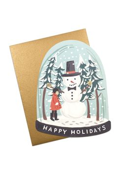 This Christmas card is in the shape of a snow globe! Love it.