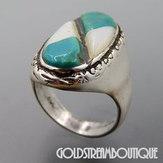 NATIVE AMERICAN VINTAGE NAVAJO STERLING SILVER TURQUOISE & MOTHER OF PEARL INLAY OVAL RING SIZE 10.25