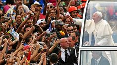 """So let me knock gently at this door,"""" Pope Francis said upon his arrival in Rio. """"I have neither silver nor gold, but I bring with me the most precious thing given to me: Jesus Christ."""