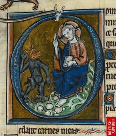 Royal 2 B III. Netherlands, S. (Bruges).  2nd or 3rd quarter of the 13th century. Detail of an historiated initial 'D'(ominus) of the Temptation of Christ, at the beginning of Psalm 26.   http://www.bl.uk/catalogues/illuminatedmanuscripts/results.asp