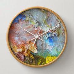 Folksy Painterly clock # DIY Home Decor inexpensive Diy Wood Wall, Diy Wall Decor, Wall Clock Decor, Wall Clock Design, Wall Art, Mur Diy, Diy Clock, Clock Ideas, Ideias Diy