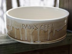 Ready to Ship Pottery Dog Bowl PAWS OFF Pet Feeding Water Dish/Bowl Large