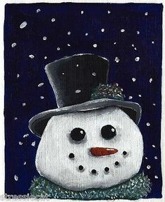 Original Acrylic Painting Whimsical Folk Art Winter Snow Scene Clowning Snowman   eBay