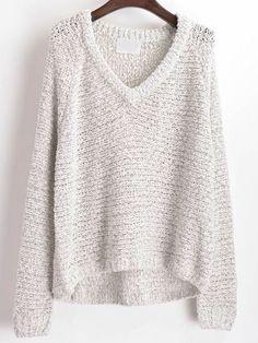 Dip Hem V Neck Sweater at Romwe - Trendslove