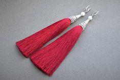 Dark red tassel earrings Marsala tassels Long dangle earrings