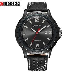 CURREN Business Men's Calendar Waterproof Genuine Leather Wrist Watch 8120G