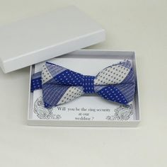 Royal blue bow tie, Best man request gift, Groomsman bow tie, Man of honor gift, Best man bow tie, Ring bearer gift, man of honor request bow Royal Blue Bow Tie, Custom Bow Ties, Man Of Honour, Ring Bearer Gifts, Groomsman Gifts, Blue And White, Bows, Blue Wedding