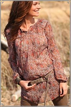 9531f192791d6 Chemise tunique en voile marron et orange à porter lâchée ou avec un  ceinture, manches ballon tendance femme ronde.