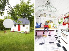 """cute inside of playhouse ideas...but too cute for my messy grandgirl!  she loves mud, dirt and making messy """"witches brew"""" in her playhouse!"""