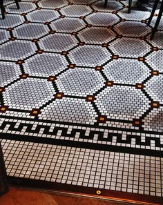 US Design: Wythe Hotel in Williamsburg mosaic for powder floor Floor Patterns, Tile Patterns, Tile Design, Door Design, Hotel Boutique, Wythe Hotel, Hotel Door, Penny Tile, Walk In Shower Designs