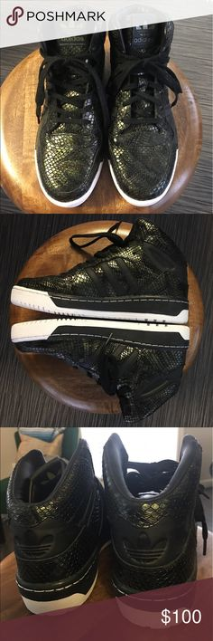 Adidas Originals M Attitude Revive W Mid Top Green Adidas Originals basketball style shoe. Green/Black Snakeskin Women. New without box. Only tried on, never worn out. adidas Shoes Athletic Shoes