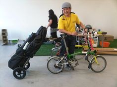 Bfold Folding Bicycles - New York, NY, United States. bfold owner Lam with Brompton and Burley Travoy