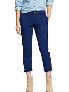 Really have been wanting these have them in the coral color and they are absolutely wonderful. They are comfy, do not wrinkle easily, have a little stretch in them, well made and are really soft. Casual but professional for work.  Women's Boyfriend Skinny Khakis | Old Navy