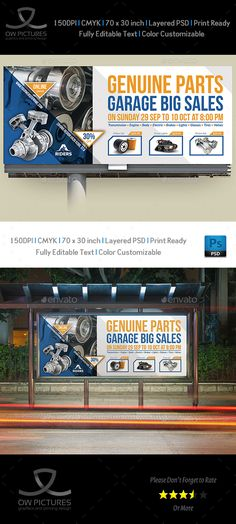 Buy Auto Parts Billboard Template by OWPictures on GraphicRiver. Billboard Description : Auto Parts Billboard Template was designed for business, it's professional and eye catching. Store Signage, Event Signage, Best Resume Template, Invoice Template, Flyer Template, Construction Business, Construction Logo, Signage Design, Banner Design