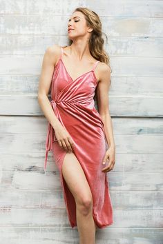 The In The Moonlight Dress is made from a velvet fabric in a pink hue. It is strappy shoulder style and features a wrap tie with ruched effect, make a statement and some sky high heels. Craft Wedding, Free Wedding, Pink Velvet, Sky High, Asymmetrical Dress, Hue, Trendy Outfits, Clothes, Collection