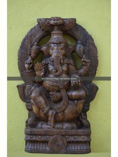 Round Arched (Thirvachi) Wooden Ganapathi Sculpture,Wall Mount Blessing Ganesha with Arch,Wooden left side trunk Ganesh deity,online for the home entrance,fully hand carved wooden sculpture Round Arch, Wood Wall Decor, Lion Sculpture, Statue, Ship, Home Decor, Art, Hinduism, Art Background