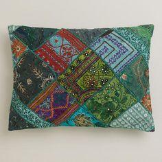 One of my favorite discoveries at WorldMarket.com: Green Sari Patchwork Lumbar Pillow