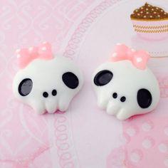 Kawaii Skulls with Pink Bow Cabochons by Lucifurious on Etsy, $2.98