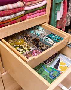 Organizing idea for the Master Closet. A drawer within a drawer.