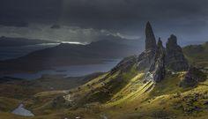 On A Stormy Autumn Day Fleeting Shaft Of Light Illuminates The Old Man Storr And Other Pinnacles Trotternish Ridge Isle Skye, Scotland © Garry Ridsdale / Smithsonian.com [os][1200x800]