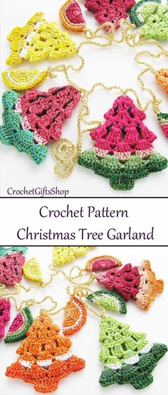45 Easy DIY Dollar Store Christmas Decorations for Decorating on a Budget - The Trending House Crochet Tree, Crochet Bunting, Crochet Garland, Crochet Snowflakes, Christmas Tree Garland, Christmas Crafts, Christmas Decorations, Crochet Christmas Garland, Christmas Ideas