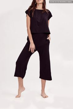 The Play Set in Midnight Black Bridal Packages, Long Torso, Cropped Pants, Lounge Wear, Jumpsuit, Rompers, Style Inspiration, Elegant, Chic
