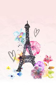 Eiffel Tower with Heart. Tap to see more Eiffel Tower Art iPhone wallpapers, backgrounds, fondos! - @mobile9