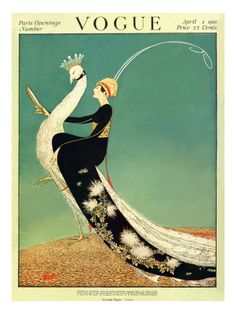 Woman in black kimono riding a peacock, by George Wolfe Plank for the cover of 'Vogue' magazine, April 1918.