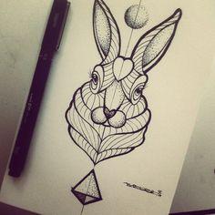 Broken Ink Tattoo - Geometric rabbit tattoo https://instagram.com/broken_tattoo