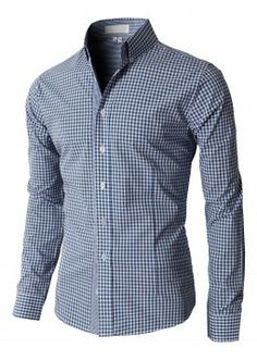Doublju Men's Casual Stripe Patterned Button Down Shirts With Long Sleeves (KMTSTL0121)
