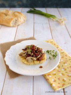 Polenta instantánea con jamón y champis
