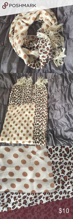 POLKA DOT AND CHEETAH PRINT PASHMINA SCARF Previously worn polka dot and cheetah print pashmina. Brown Accessories Scarves & Wraps