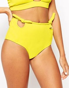 Motel+Yellow+Sun+Cut+Out+Bow+High+Waisted+Bikini+Bottoms
