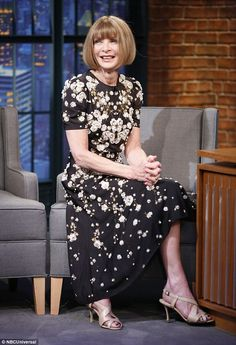 Fashion queen: Anna Wintour appeared on Late Night With Seth Meyers on Wednesday to discus...